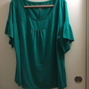 Teal short sleeve blouse